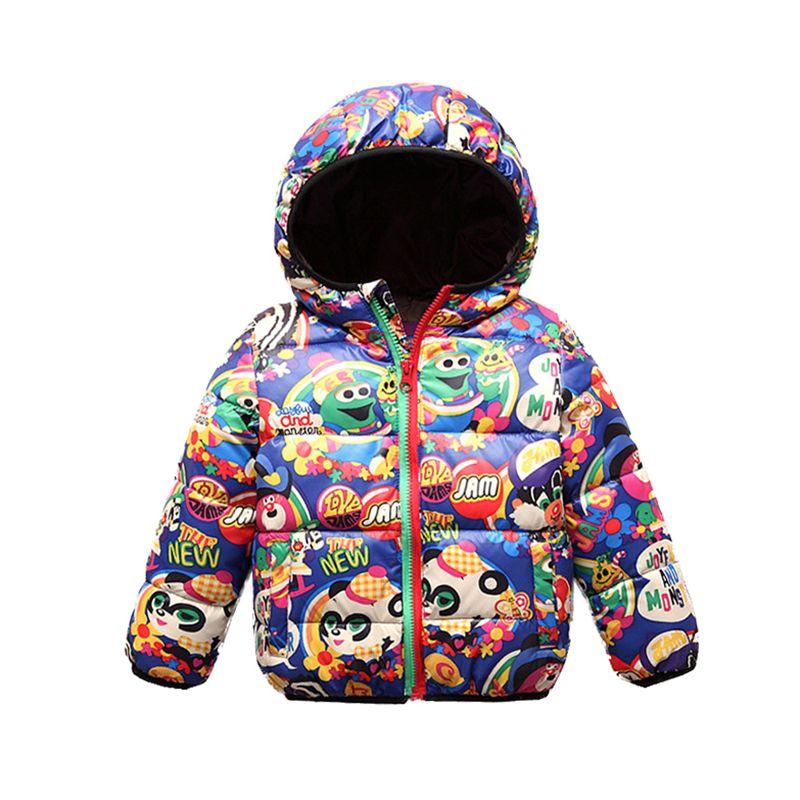 d6d83462e494 Children S Winter Jackets 2018 New Graffiti Hooded Boys Coat Cotton ...