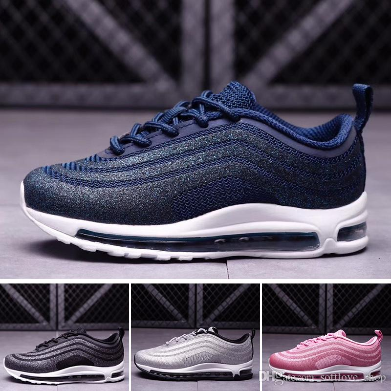 online retailer 9b88f 6f9d8 Acquista Nike Air Max 97 Kids Air 97 LX Glitter Argento Rosa Blu Nero  Bambino Sneakers Bambini Ragazzi Ragazze Scarpe Da Ginnastica Ul17 Scarpe  Sportive Da ...