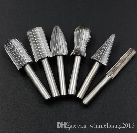 "High Speed Carbide Cutter Rotary Burr Set CNC Engraving Bit Rotary File Bur Burr Grinding Shank 6mm 1/4"" For Dremel Rotary Tools"