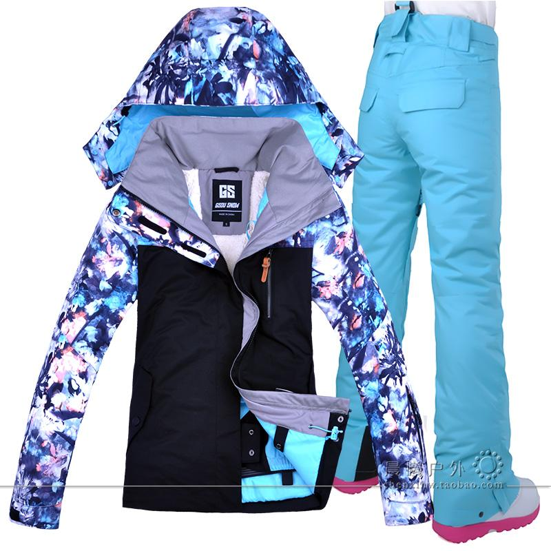 d9e89ed408 GSOU SNOW Women Ski Suit Snowboard Jacket Pant Windproof Waterproof ...