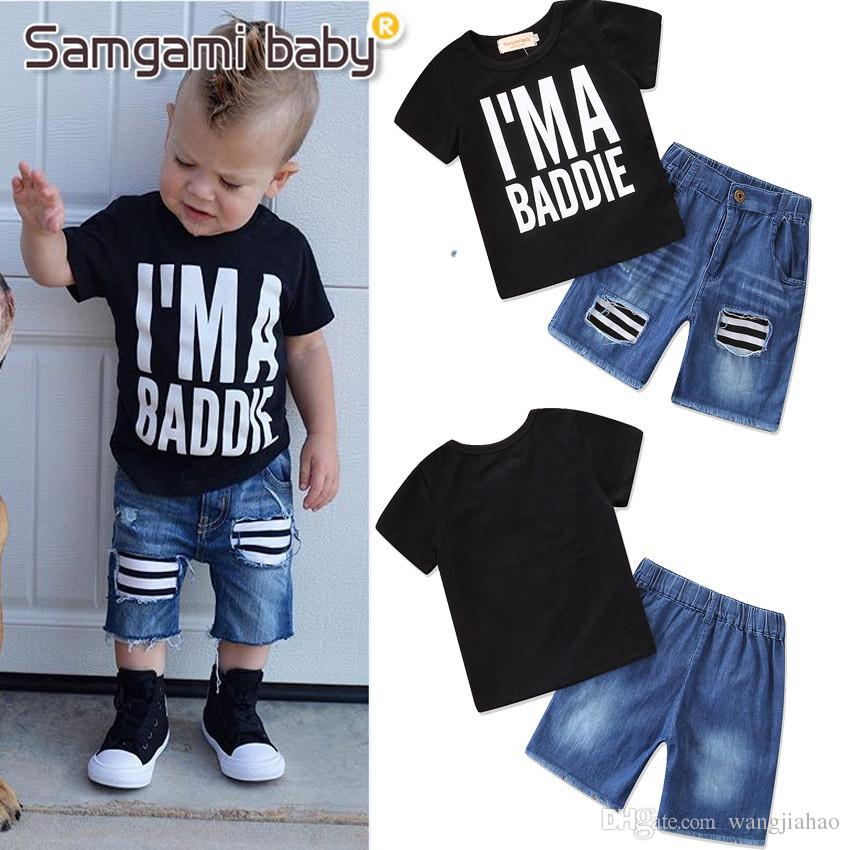 75ac9dd5023 Cheap Baby Girls Kids Two Piece Suit Children s Clothes Baby Boys Summer  Clothing Sets 2018 New Litter Boy Casual Short-sleeved T-shirt Denim Pant
