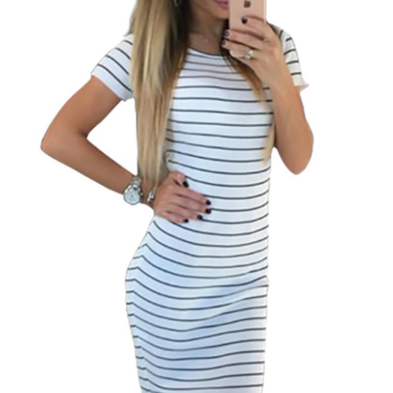936254f259b Großhandel 2019 Frauen Sommer Casual Dress Sexy Kurzarm Oansatz Schwarz  Weiß Gestreifte Kleider Mid Calf Femme Strand Dress Lx301 Von Feeling01