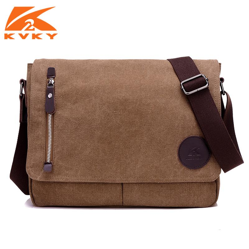 eecf4330a5 KVKY Vintage Men Canvas Bag Crossbody Man Shoulder Messenger Bags Leisure  Large Capacity Bolsa Masculina Two Colors Brown Black Leather Backpack Purse  ...
