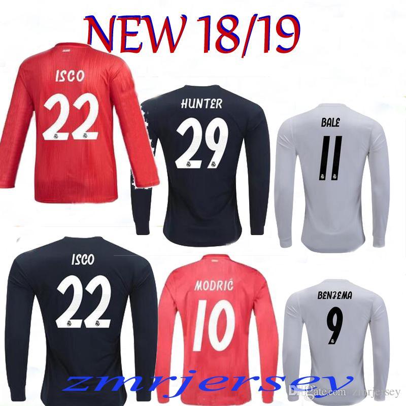 c057b7e49 2019 18 19 Real Madrid Long Soccer Jersey MODRIC RONALDO CR7 Long Sleeves  Away 3RD BENZEMA BALE KROOS RAMOS ISCO NAVAS Football Shirt Jersey From  Zmrjersey