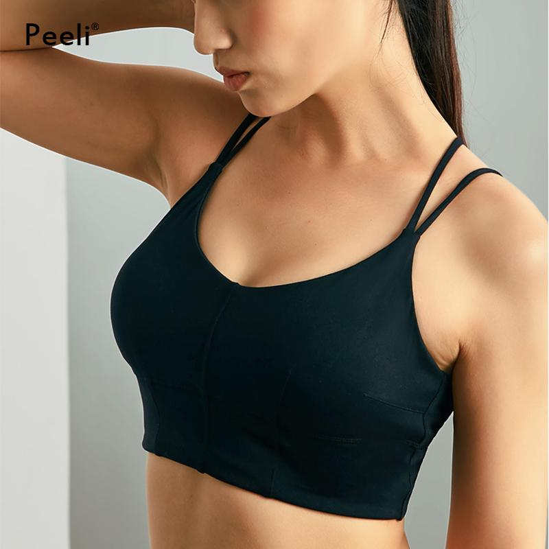 a079035e00 2019 Peeli Push Up Sports Bra Top High Support Running Padded Yoga Bra  Workout Gym Strappy Brassiere Sport Women Fitness Activewear From  Bingquanwat
