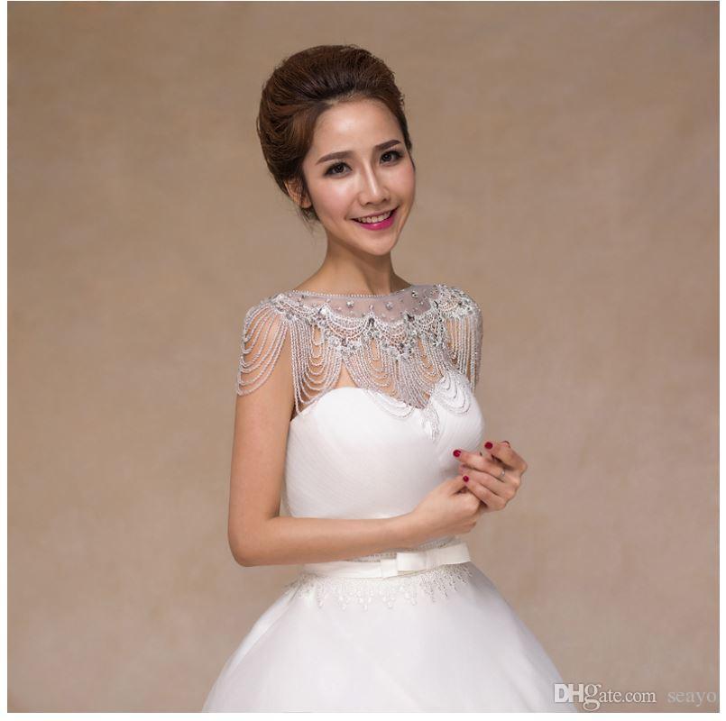 Korean new style shoulder shoulder chain, necklace long lace, slim wedding shawl, crystal wedding dress wholesale.