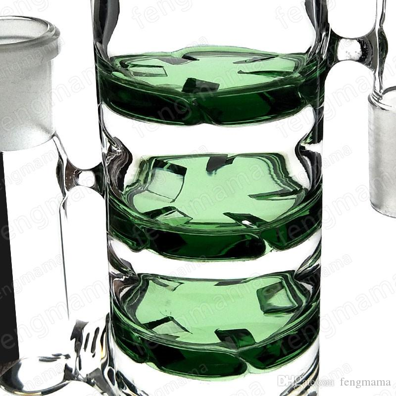 Newest 18mm joint triple honeycomb smoking water glass percolator ash catcher pipe glass bong accessories for smoking