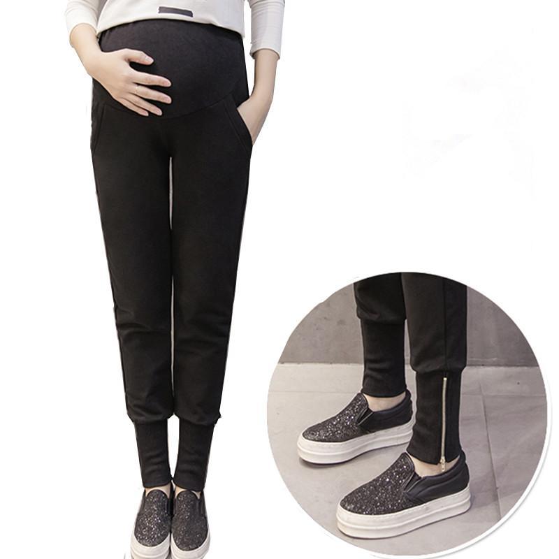 b79e8abc1 Compre Pantalones De Embarazo Del Vientre Flaco Maternidad Leggings  Elástico De Algodón Cintura Ajustable Pantalones Deportivos Ropa Para  Mujeres ...