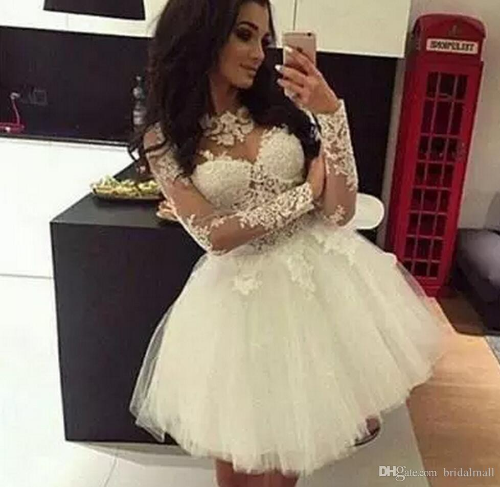 38cb1fa6b14 Puffy 2018 White Lace Long Sleeve Short Mini Homecoming Dresses Young Sweet  16 Graduation Dress Lace Formal Prom Party Cocktail Ball Gowns Special  Occasion ...