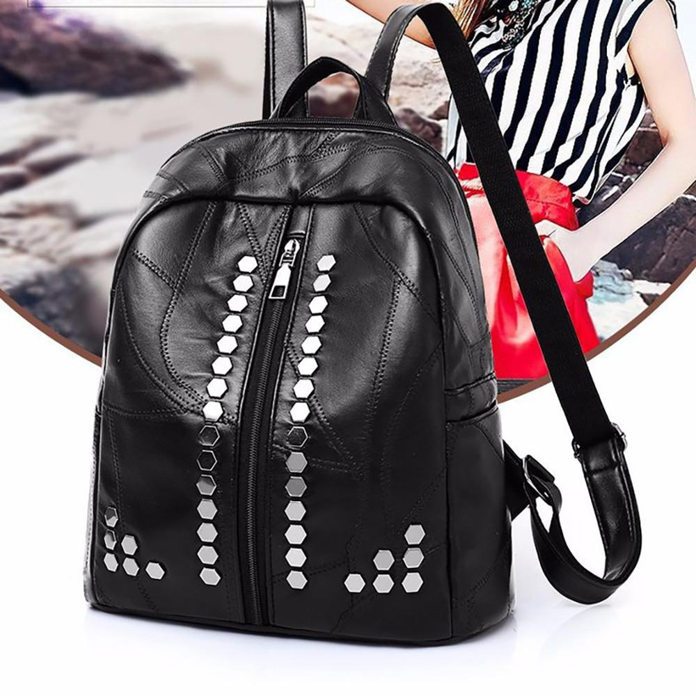 cb8f532bff195b 2018 Woman Genuine Leather Backpack Studded Sheepskin Stitching Shoulder Bag  Large Capacity Travel Bag Shopping Pack For Girls Backpacks Bags From  Misix, ...