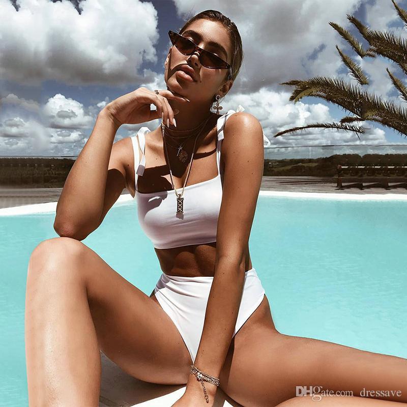 Biquíni Branco Mulheres Swimsuit 2018 Bandage Swimwear Novo Verão Melhor Fato De Banho Macio Swimsuits