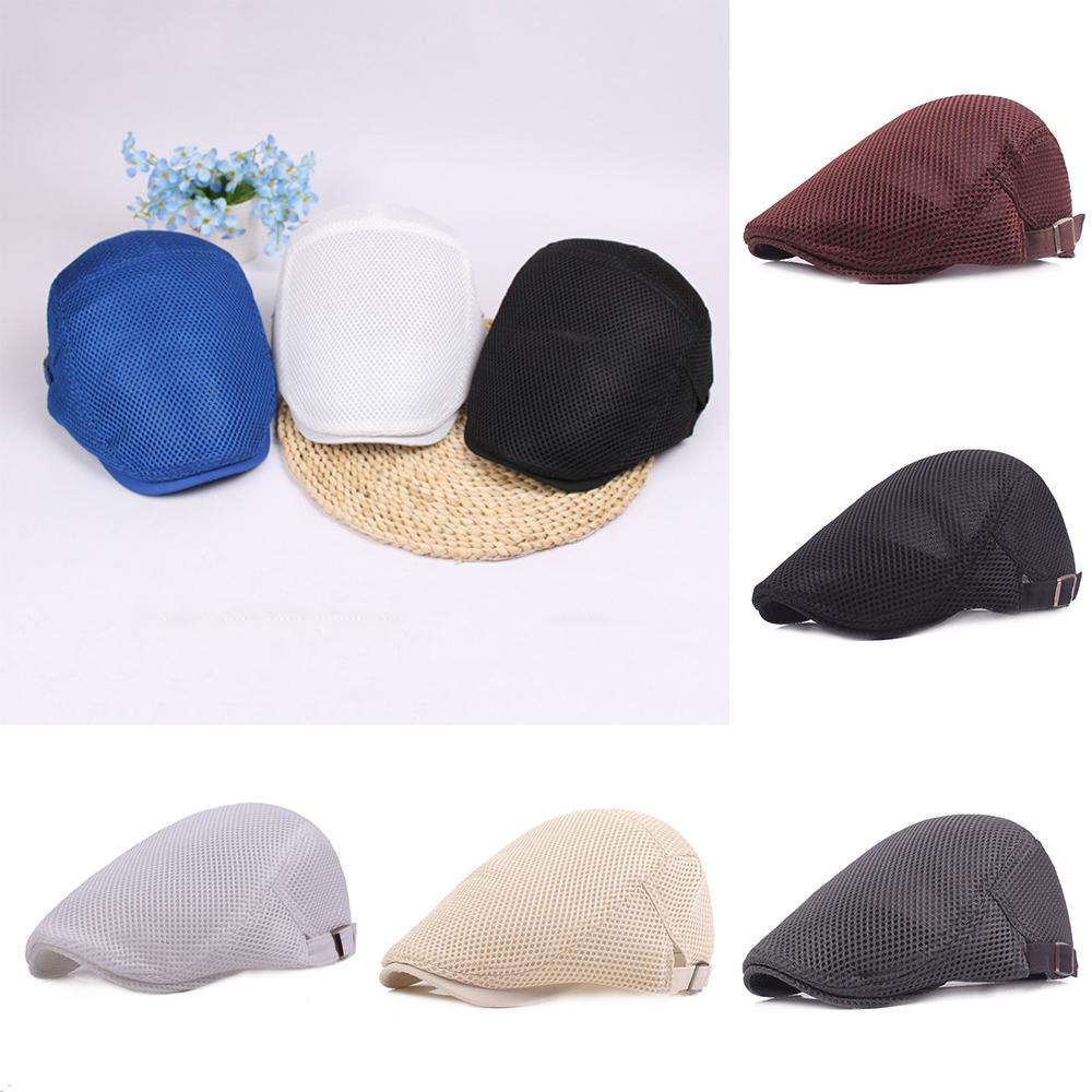 7614f9d4a21 2019 Berets Caps 2018 New Arrive Men Breathable Mesh Summer Hat Newsboy Hat  Ivy Cap Cabbie Beret Irish Flat Cap Unise Sunscreen Hats From Hongshaor