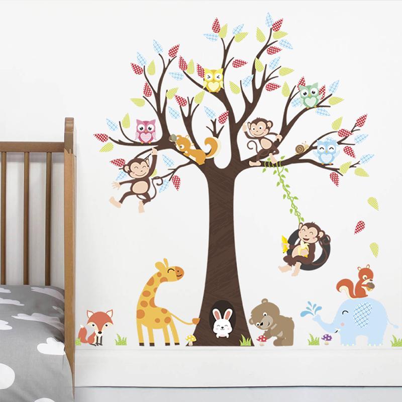 Schöne Tiere Baum Wandaufkleber Für Kinderzimmer Kindergarten Dekoration  Affe Giraffe Elefant Safari Wandbild Kunst Diy Home Decals