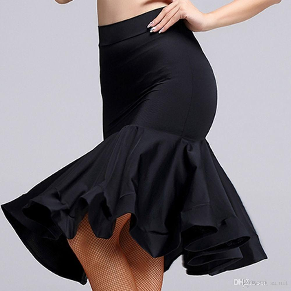 Latin Dance falda mas baratos trajes de competencia de baile Salsa Samba vestidos F0307 Moda rizado Hem de nuevo de Split