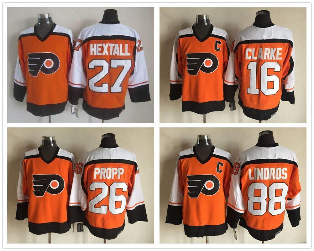 Retro Hockey Jersey 27 Ron Hextall 16 Bobby Clarke 26 Brian Propp 88 ... fbfd11af5
