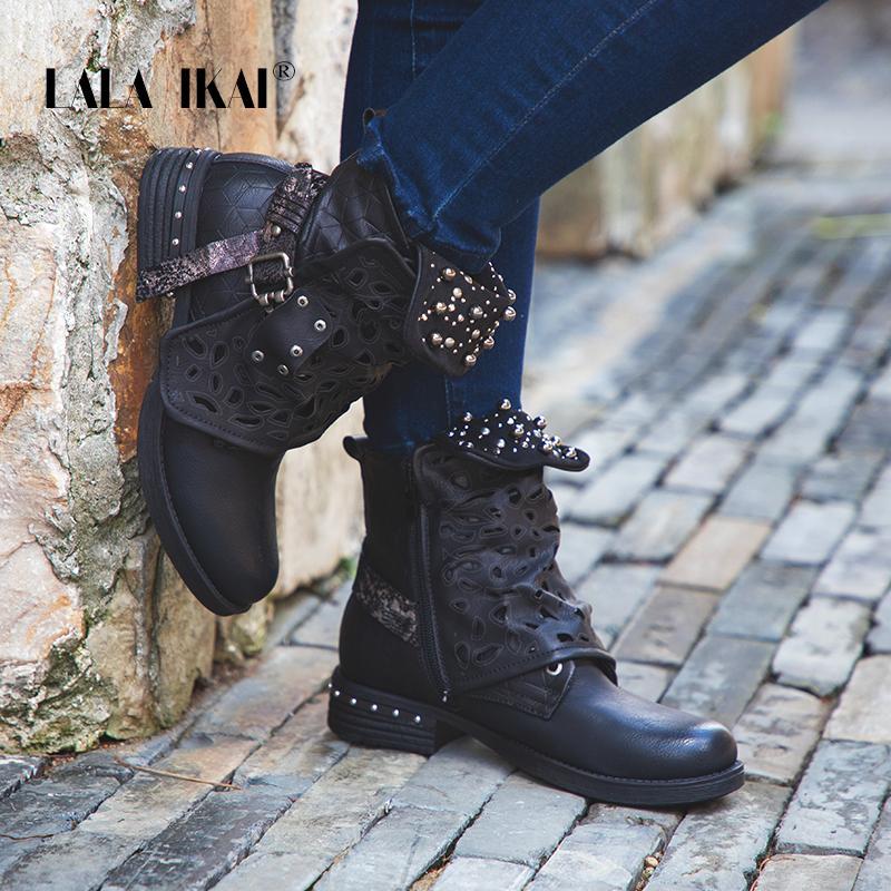 0b29be81c3 LALA IKAI Women Rhinestone Winter Boots Zipper Rivet Buckle Lace-up Ankle  Western Boots Cowboy Round Toe Women Shoes 014A2164 -4