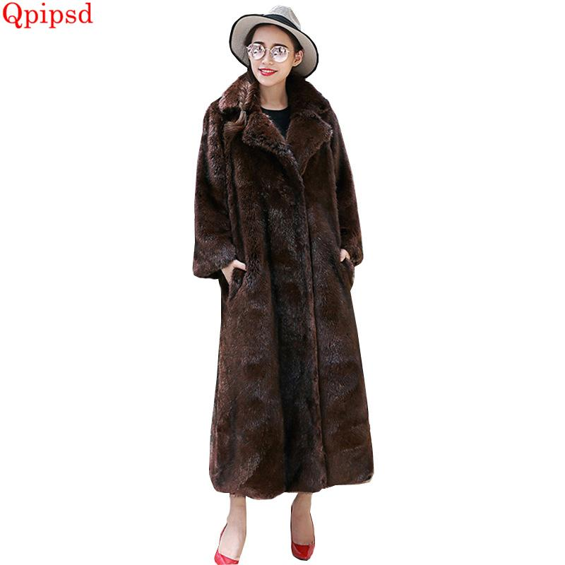 76db40fddf4 2019 Plus Size 6XL Womens Clothing Mink Coat 2018 Winter Long Jackets  Female Thicken Warm Faux Fur Coats Womens Casual Loose Overcoat From  Mingclothes001