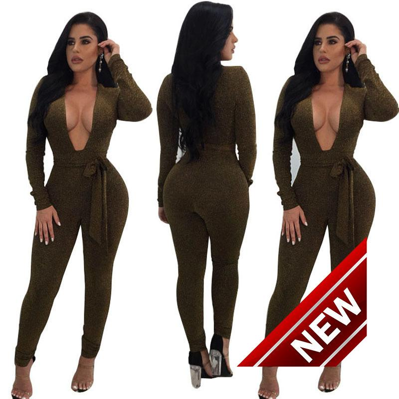 082b053efefd1 2018 Autumn New Product High Waist Trousers Pencil Long Sleeve V Lead Lin  Tai Pants Plus Size Jumpsuits for Women Amp Rompers Reflective Sequins SEXY  ...
