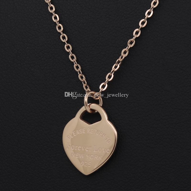 3 Цвета Серебро Золото Из Нержавеющей Стали Роскошные Письмо Навсегда Любовь Сердце Ожерелье Для Женщин Свадебные Украшения Оптом