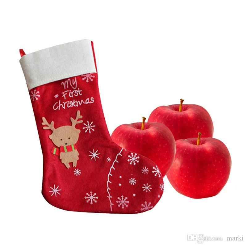 christmas decorations snowflake deer christmas stocking gift bag candy apple bags wrap long stockings socks red festive party supplies wn486 house