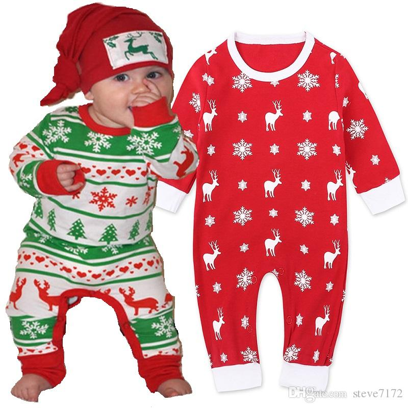 Christmas Costumes Newborn Clothes Baby Boys Rompers Pajamas 100% Cotton Premature Jumpsuits Baby Girl Snowflakes Deer Tree Tops Bodysuits