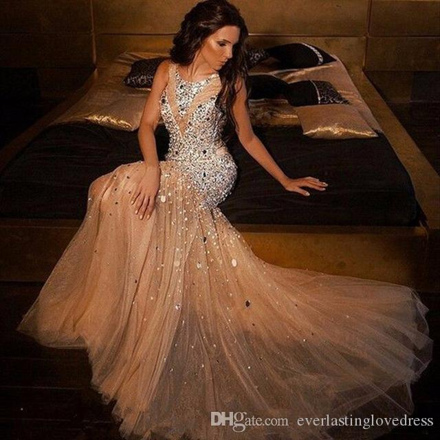 Jewel Neckline New Sparkly Beaded Crystal Major Beaded Mermaid Prom Dresses 2017 Plus Size Champagne Tulle Evening Gowns Fo