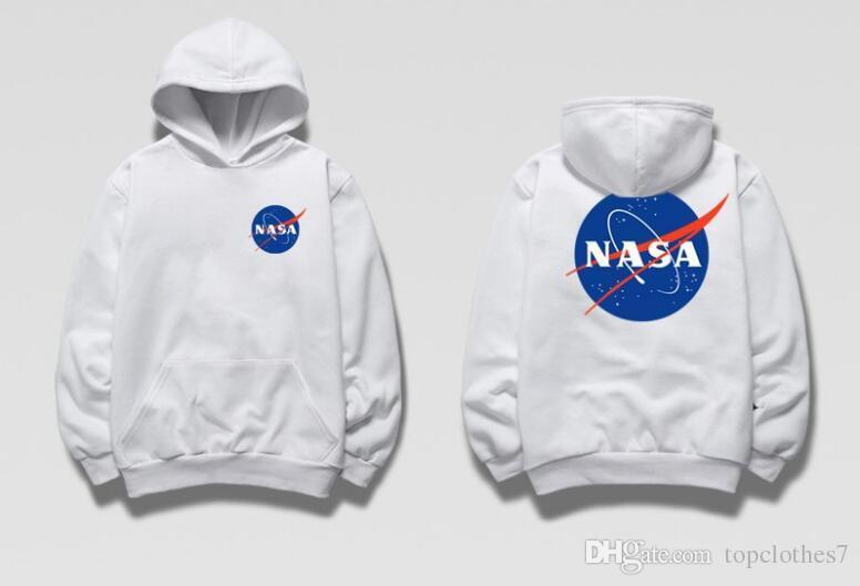 c30d0e6bf43 2019 2018 Fashion Brand Hot NASA Hoodie Streetwear Hip Hop Khaki Black Gray  Pink White Hooded Hoody Mens Hoodies Sweatshirts S XXL Plus Size From ...