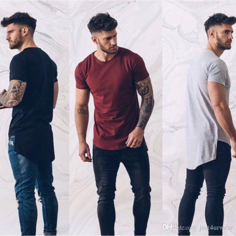 2ec42631 Mens Casual Tshirts Front Short Back Long Irregular Tees Solid Color  Leisure Tops Summer Wear Buy Tee Shirts Great Tee Shirts From Just4urwear,  ...