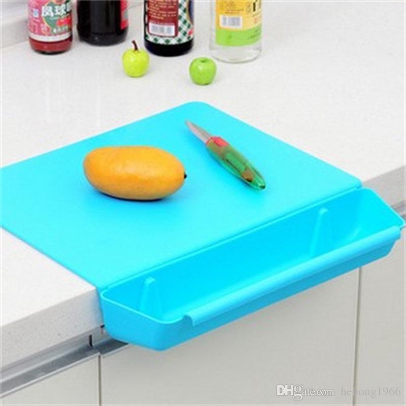 Bloque de cocina de plástico Pinkycolor Práctica de cocina dos en uno de almacenamiento con Groove Board engrosamiento de fruta de corte de venta caliente 18hj V
