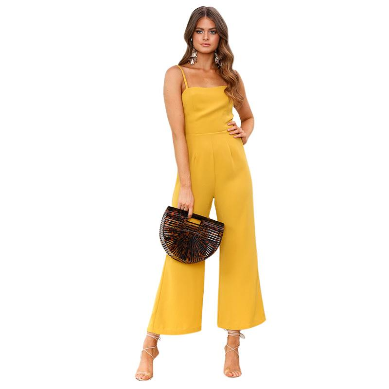 b8fa1159a490 2019 2018 Summer Womens Jumpsuits Rompers Spaghetti Strap Casual Playsuit  Solid Overalls Wide Leg Loose Long Pants Macacao Feminino From Liasheng02