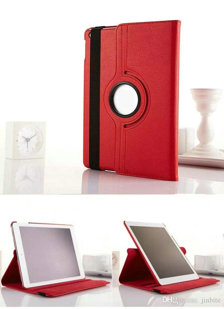 For iPad mini 2 3 4 Case Lichee Pattern Case Fashion 360 Degree Rotation PU Leather Stand Cases For ipad5 Air1 Air2 Case OPP Bag OM-Q2