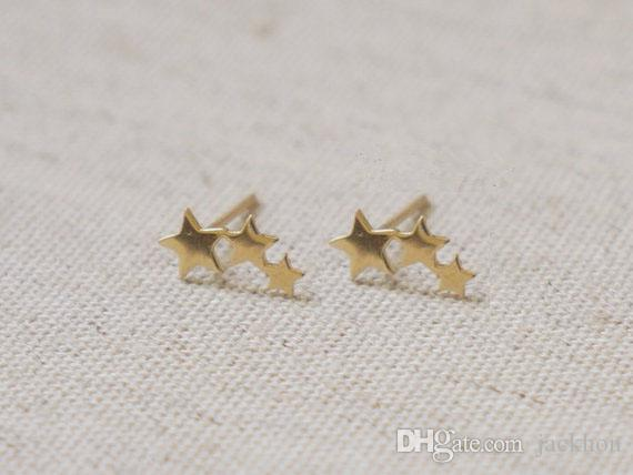 e9d696a31 Gold Silver Tiny 3 Stars Stud Earrings Three Linking Stars Stud Earring Cute  3star teens stud earrings for women