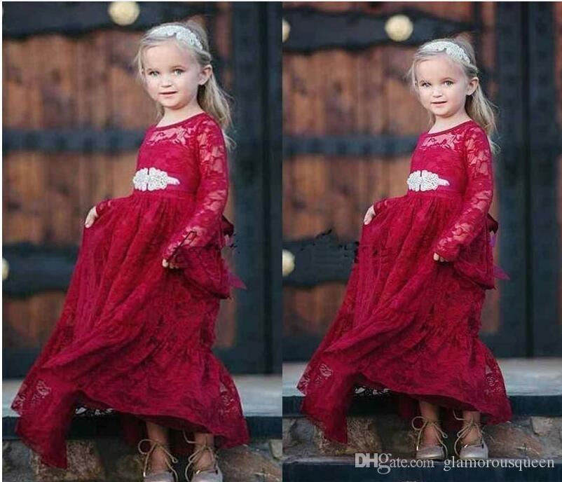 db5b896dd Compre Vestido De Desfile De Niñas De Encaje Rojo Oscuro Vestido De Noche  Largo De Cristales De Manga Larga 2019 Vestido De Noche De Fiesta Infantil  De ...