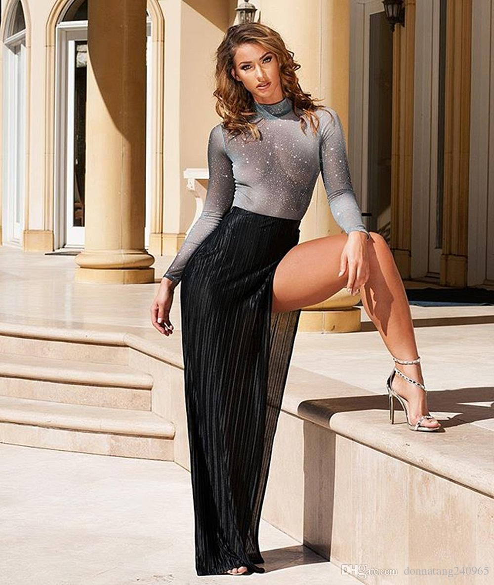 New Arrived Sexy Womens Two Piece Sets 2018 Spring Summer Long Sleeve Sliver Top and Sliver High Split Skirt Set Design