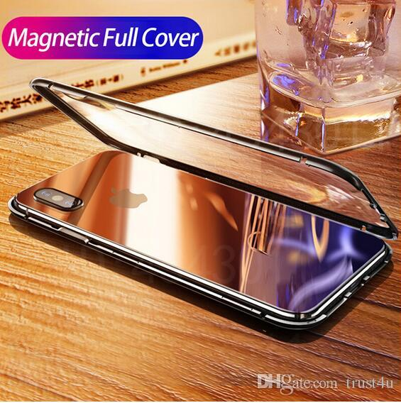 the best attitude 23934 0751d Magnet Absorption Aluminum Alloy Metal Frame Magneto Phone Cases For IPhone  XS Max XR X 7 8 Plus Anti-Scratch Tempered Glass Back Cover