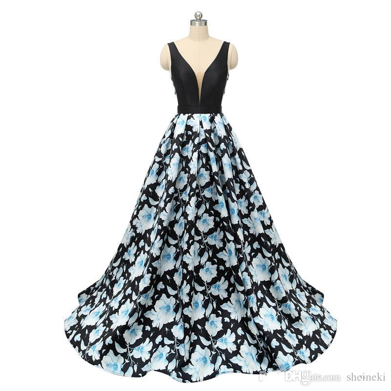 2018 Sexy V Neck Printed Flower Ball Gown Evening Gowns Sleeveless Backless Prom Dresses Long Formal Party Dress Custom Made