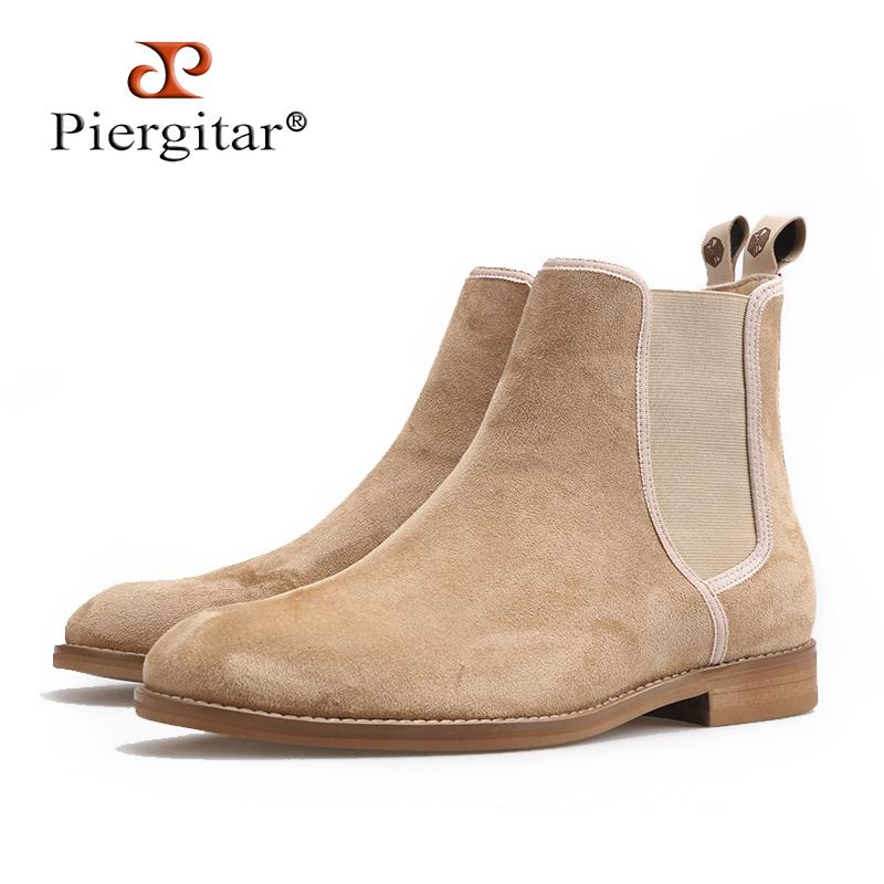 Piergitar 2018 New Handmade Men Boots classic style Cow Suede Men s casual  boots outfit,perfect for Spring Autumnal wear