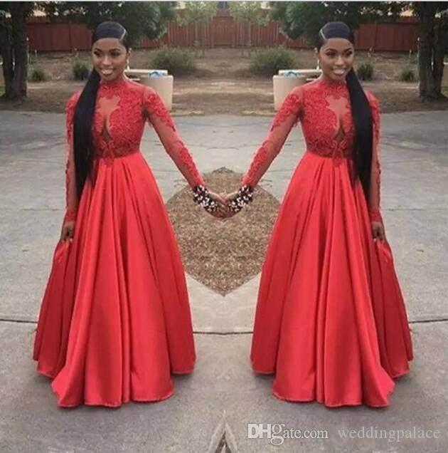 Sexy African High Neck Black Girl A-line Prom Dresses 2018 Floor-length Appliques Lace Long Sleeve Party Gowns Evening Dresses Gowns