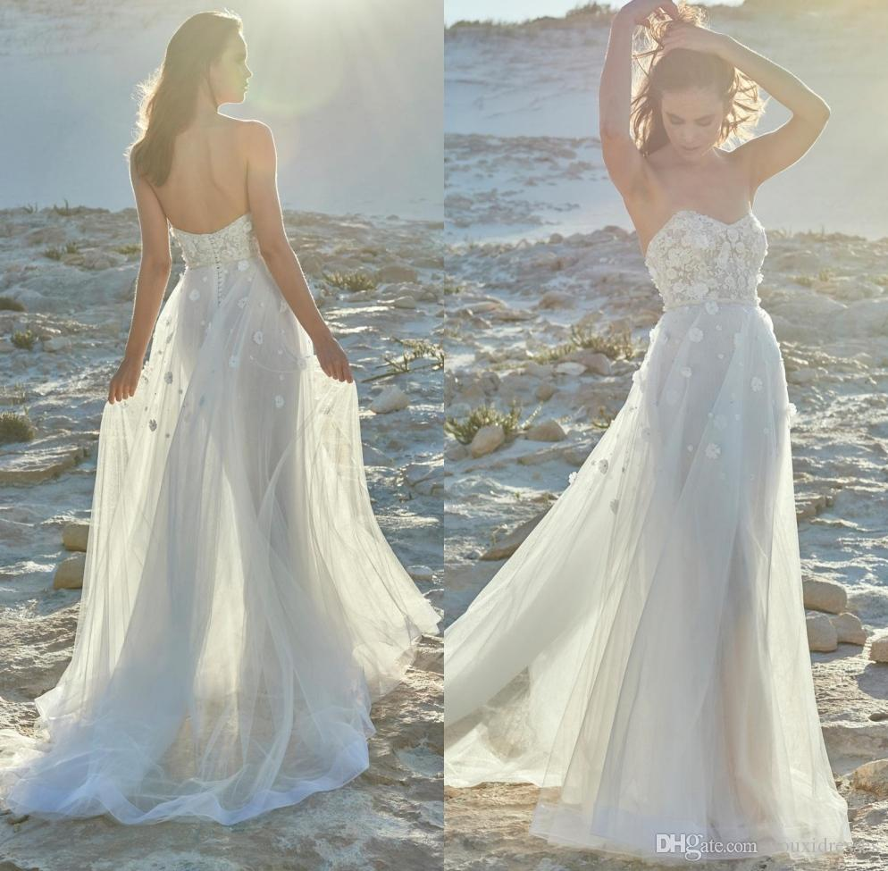 Discount New Sweetheart Beach Wedding Dresses 2019 Lace Appliques