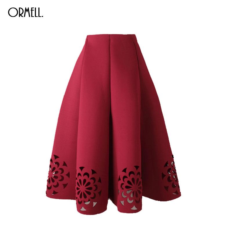 54b5c9df33 Wholesale-ORMELL Midi Skirt 2017 Elegant Vintage Floral Crochet ...