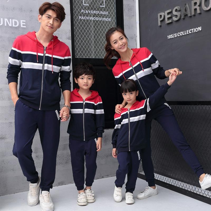 605f28c326 New Autumn Family Matching Outfits Korean Style Sweatshirt Zipper Striped  Stitching Fashion Family Clothes Couple Clothes Set Mommy And Me Matching  Clothing ...