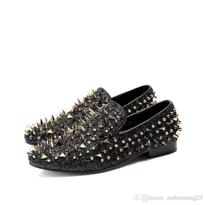 58991c8662e Luxury Brand Designer Prom Wedding Shoes Man Shining Glitter Spiked Loafers  Men Rivet Studded Leather Shoes Casual shoes Black Gold 38~47