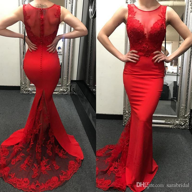 b4627ce8ce2 Red Mermaid Prom Dresses 2018 Sheer Scoop Neck Lace Appliques Sweep Train  Chiffon Hollow Back Covered Button Formal Gowns Evening Wear Dress Silver  Prom ...