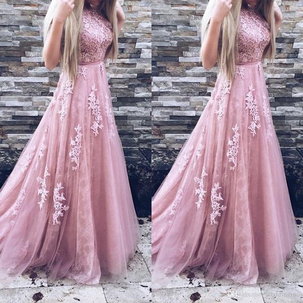 72ecd993ffd 2018 Long Prom Dresses A Line Appliques Lace Sleeveless Blush Pink Formal  Evening Gowns Prom Dress Party Dress Cute Party Dress Black Dresses For  Sale From ...