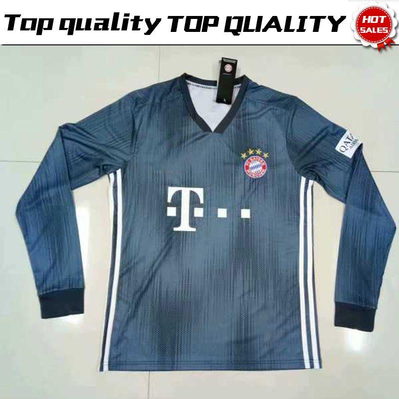 Camiseta De Mangas Largas   25 MULLER 3rd Gray Soccer 2018 19   11 JAMES    9 LEWANDOWSKI Tercer Uniforme De Fútbol Con Manga Completa Del Bayern Munich  Por ... f068194af49a3
