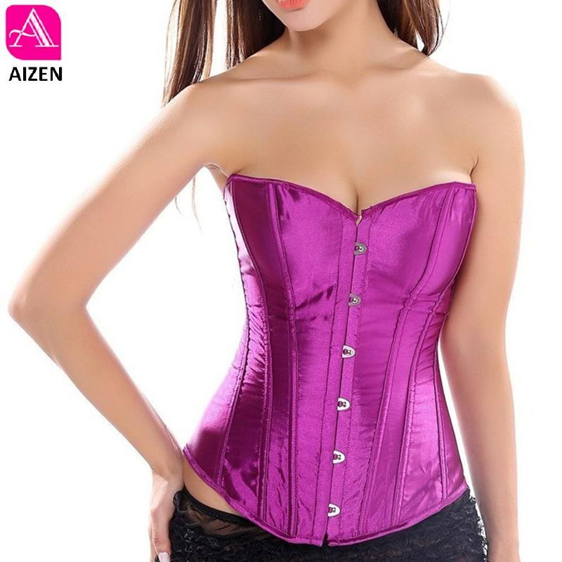 0007b0bebc7b8 2019 AIZEN Overbust Corset Plus Size Sexy Corselet Corsets And Bustiers  Tops Red Black Pink Purple Black White Gothic Lingerie Women From Hoto
