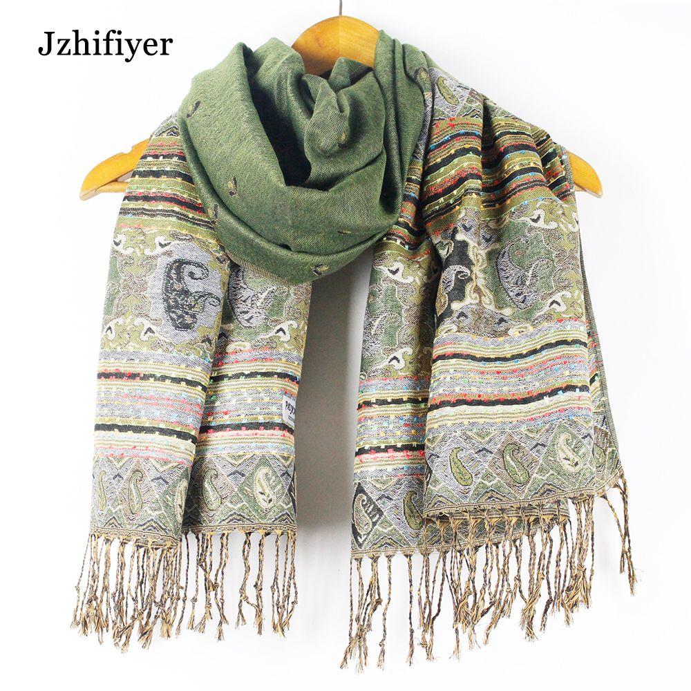 winter scarf luxury brand fringe bohemina jacquard pashmina scarf wholesale long shawls paisley capes poncho wrapt vison