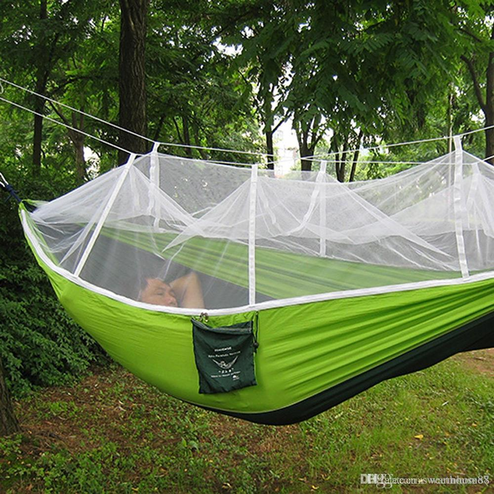Fast Deliver Portable Camping Hanging Hammock Mosquito Net Outdoor Fabric Parachute Bed Travel Furniture Hammocks 100% Original Home Textile