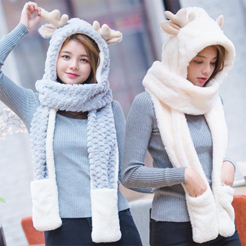 Women New Scarf Gloves Three-Piece Autumn And Winter Fashion Cute ... 6cb7a8610dfa