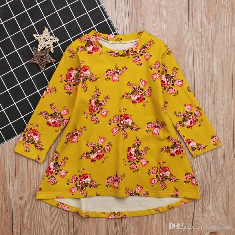 Girls big flowers long sleeve dress Toddlers cute floral onepiece dress kids casual skirt outfits 1-4T